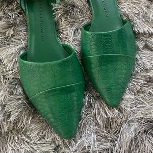 Shoes - Green snake embossed d'orsay pointed ballet flats